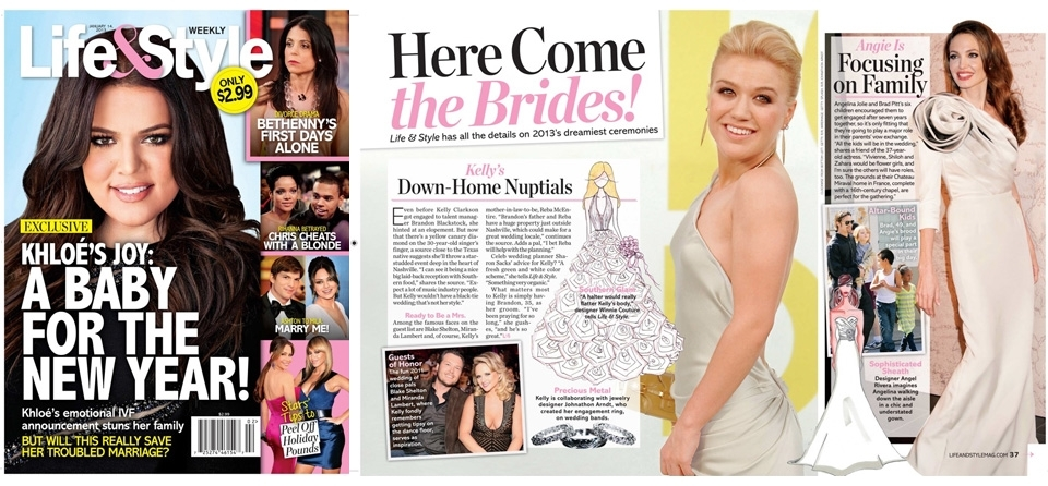 Winnie's bridal sketch for Kelly Clarkson was featured on The Life & Style Weekly Magazine.