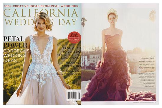 CALIFORNIA WEDDING DAY magazine featured Winnie Couture style Pierretta.