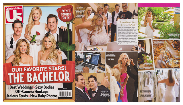 "US Weekly magazine featured former ""Bachelorette"" Ali Fedotowsky in a strapless silk chiffon WINNIE COUTURE gown."
