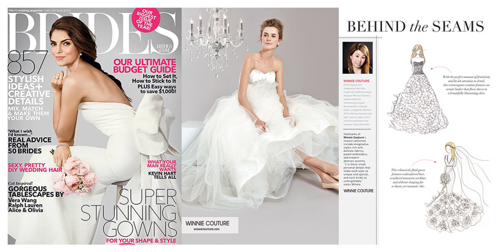 "BRIDES magazine featured designer WINNIE CHLOMIN LEE""S latest bridal sketches and collection."