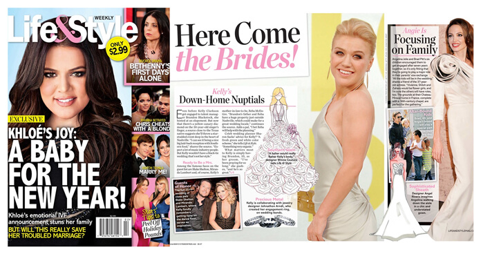"LIFE & STYLE Weekly magazine featured Winnie""s bridal sketch for singer Kelly Clarkson."